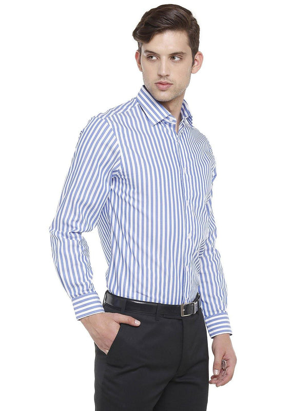 Formal Blue Striped Shirt