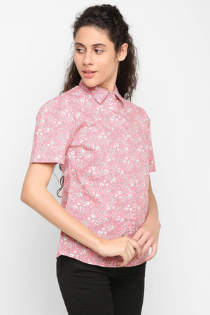 Double TWO Women's Pink Floral Print Half Sleeve Shirt