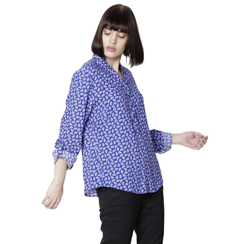 Double TWO Women Purple Floral Print Top - Doubletwoindia