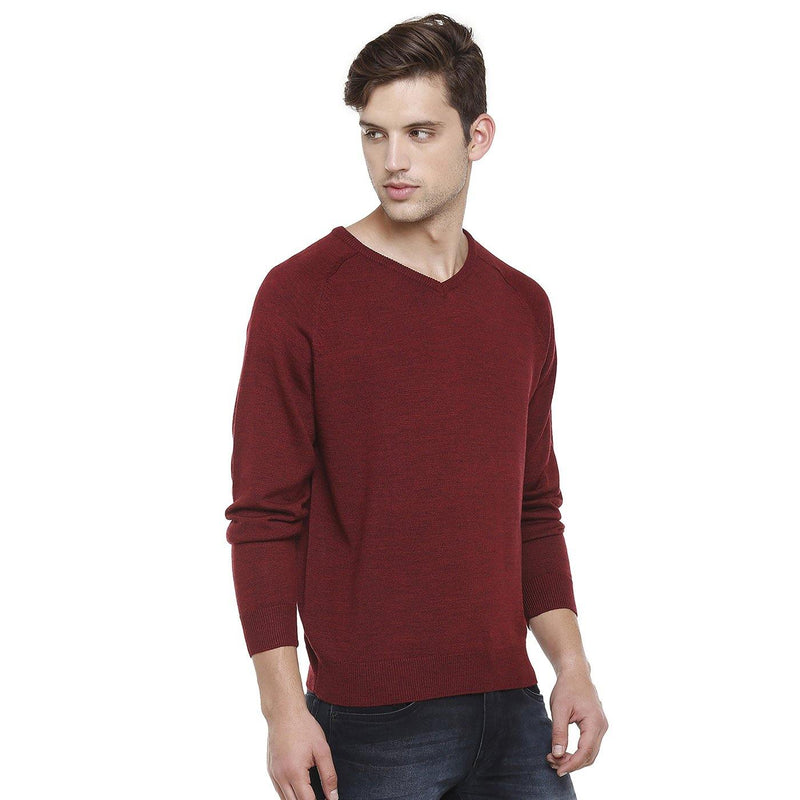 Double Two Wool Blend Red Sweater - Doubletwoindia