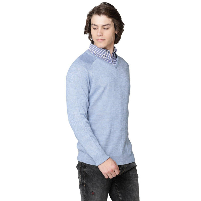 Double Two Wool Blend Blue Sweater - Doubletwoindia