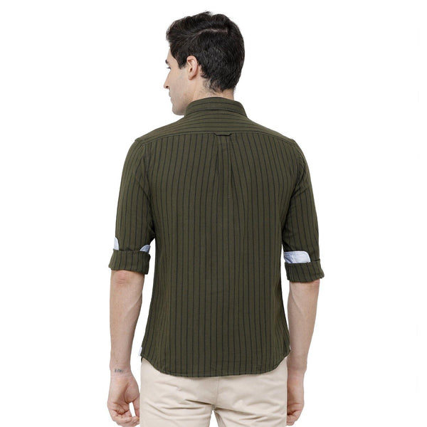 Casual Olive Green Striped Shirt