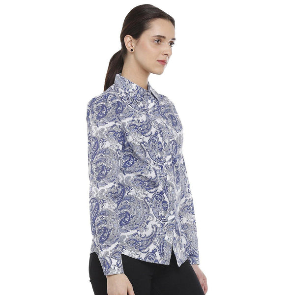 DoubleTwo Blue Paisley Classic Fit Women's Shirt