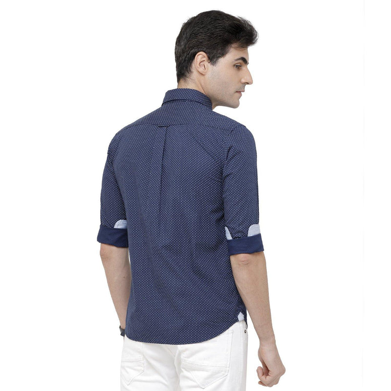 Casual Navy Blue Printed Shirt - Doubletwoindia