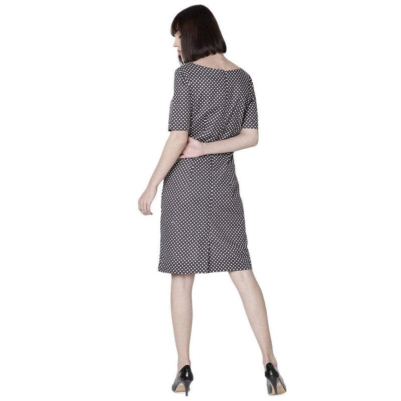 Double TWO Charcoal Dot Ladies Dress - Doubletwoindia