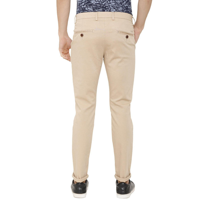 Casual Cotton Beige Solid Chino - Doubletwoindia