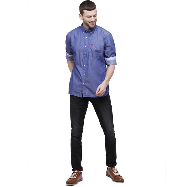 Men Blue Self Design Slim Fit Casual Shirt