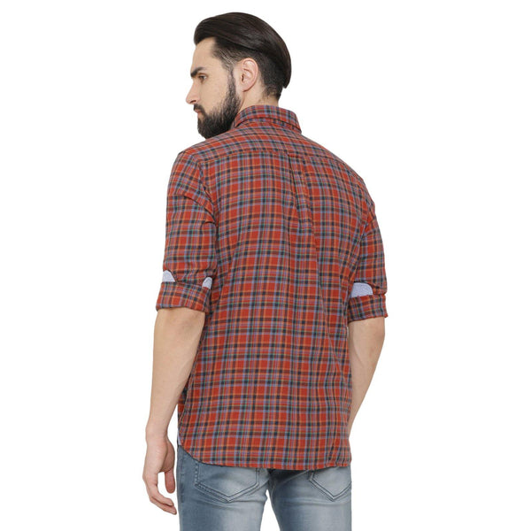 Casual Rust & Blue Checked Shirt