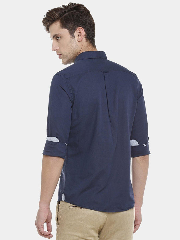 Casual Navy Linen Plain Shirt