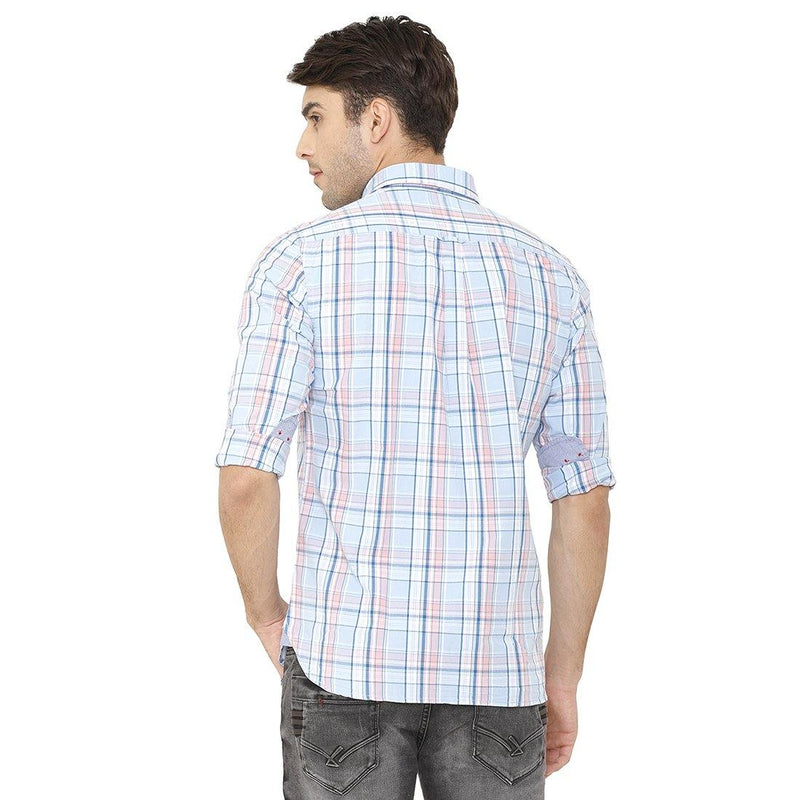 Casual Turquoise Blue Checked Shirt - Doubletwoindia