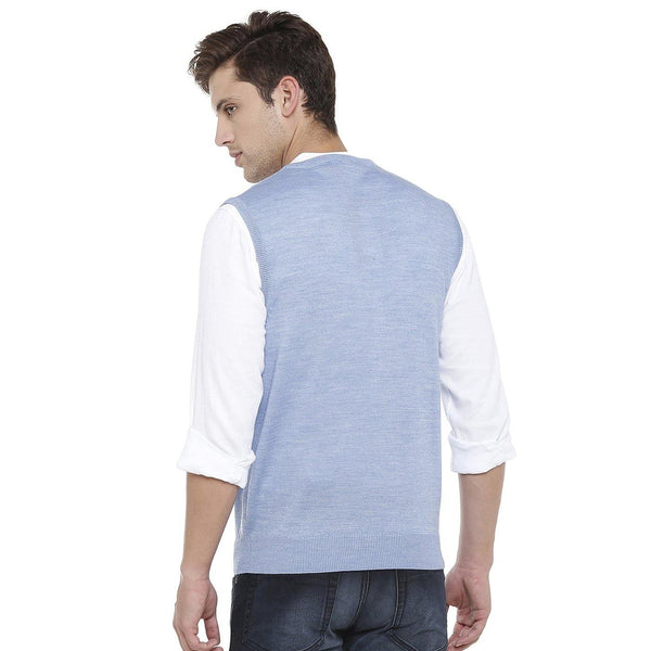 Double Two Wool Blend Blue Sleeveless Sweater