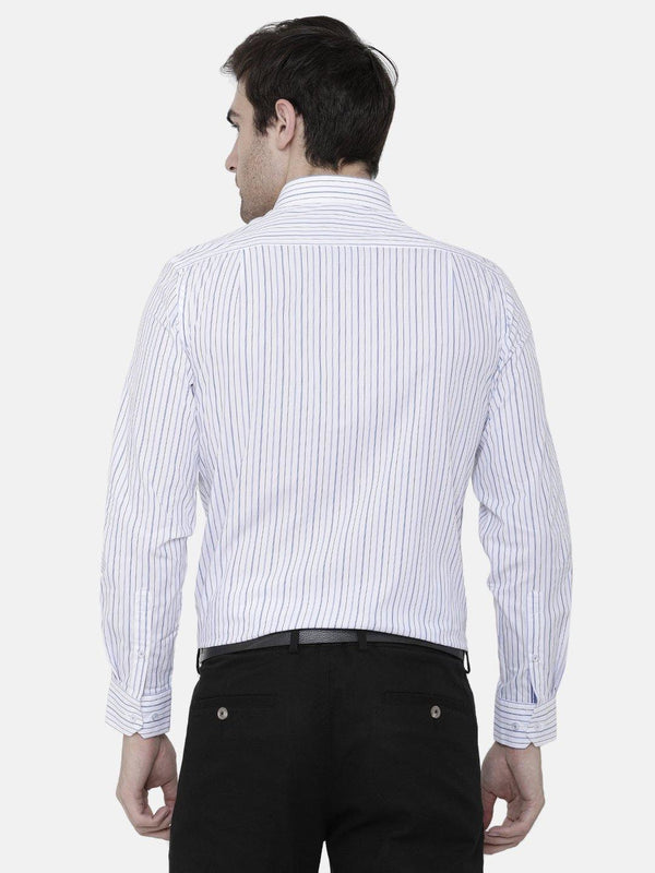 Formal Blue Mini Grid Striped Shirt - Doubletwoindia