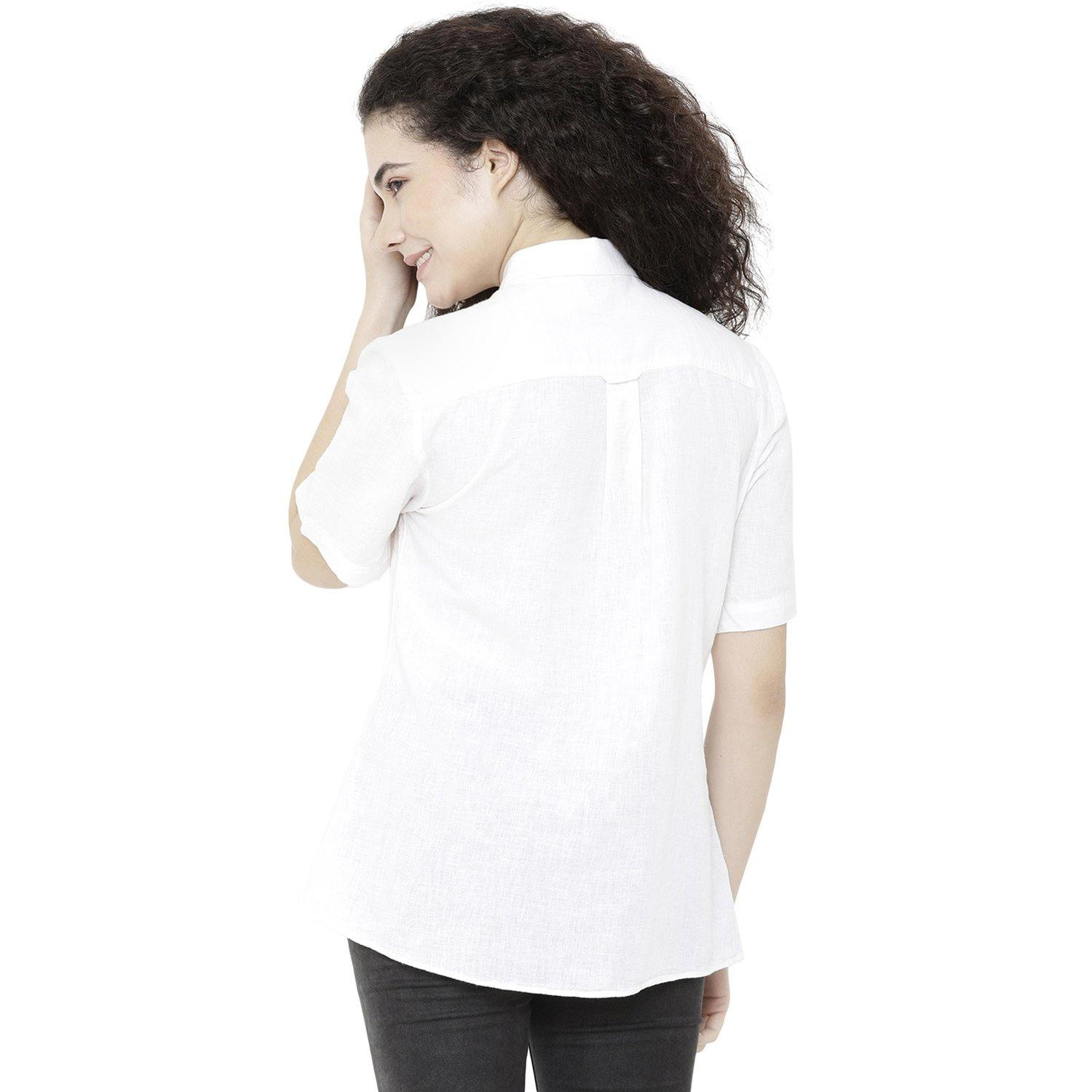 Double TWO Women Off White Linen Solid Classic Fit Shirt