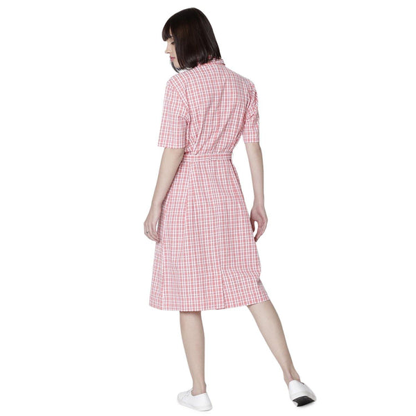 Double TWO Coral Seersucker Check Dress