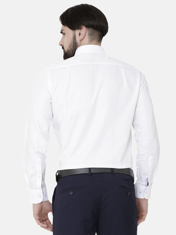 Formal White Herringbone Plain Shirt - Doubletwoindia