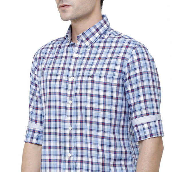 Casual Blue Checked Shirt