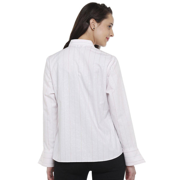 DoubleTwo Light Pink Solid Classic Fit Women's Shirt