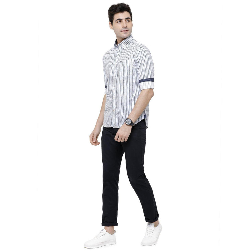 Casual White Striped Shirt - Doubletwoindia