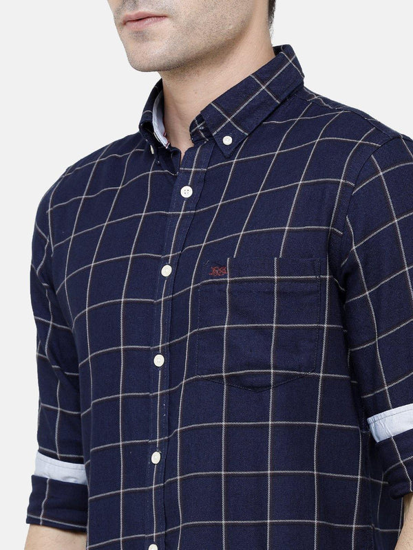 Casual Dark Blue Checked Shirt