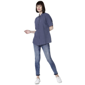 Double TWO Women Navy Blue Linen Solid Classic Fit Shirt