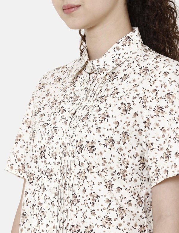 Double TWO Women Brown Front Pleated Floral Print Shirt