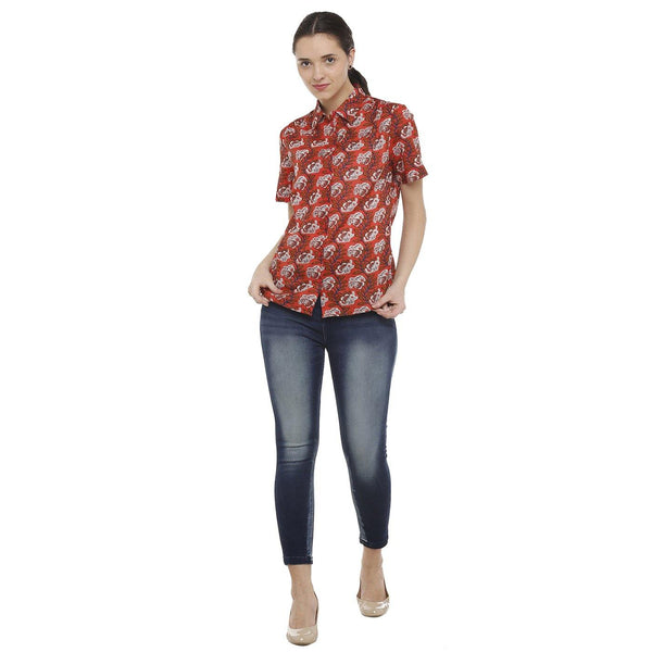 Double TWO Women's Cotton Classic Fit Red Floral Shirt