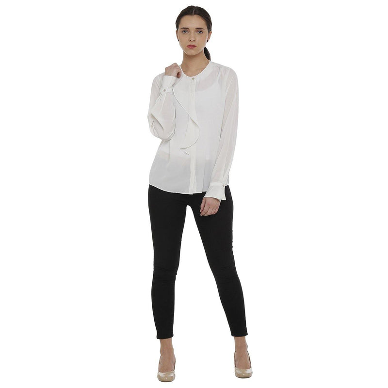 Double TWO Ivory Waterfall Front Women's Top - Doubletwoindia