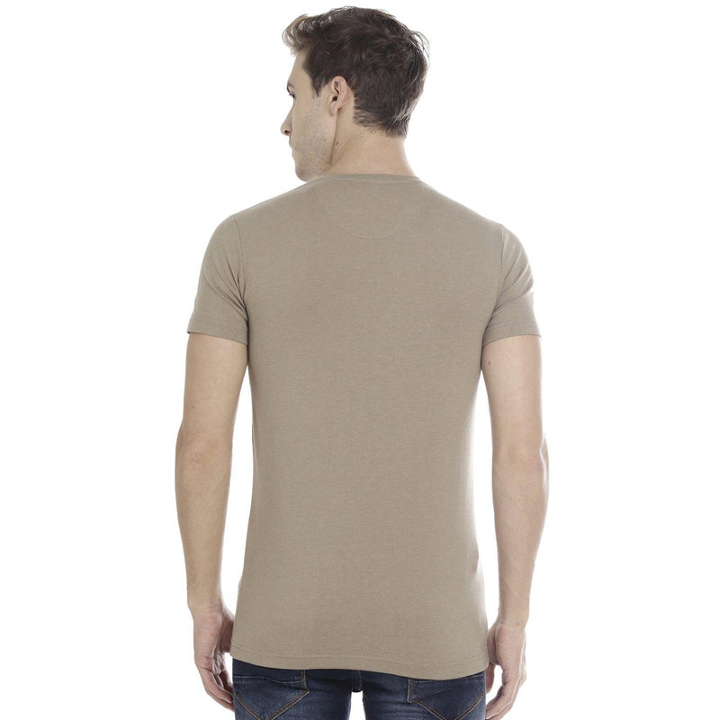 Double Two Round Neck Printed Brown Melange T-Shirt - Doubletwoindia