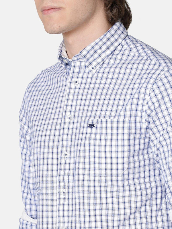 Casual Blue & White Oxford Checked Shirt - Doubletwoindia