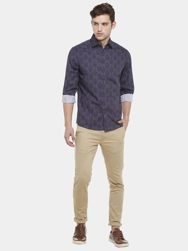 Casual Navy Printed Shirt