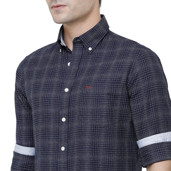 Casual Navy Blue Flannel Checked Shirt