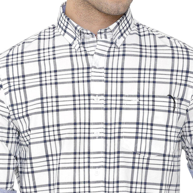 Casual White & Navy Blue Checked Shirt - Doubletwoindia