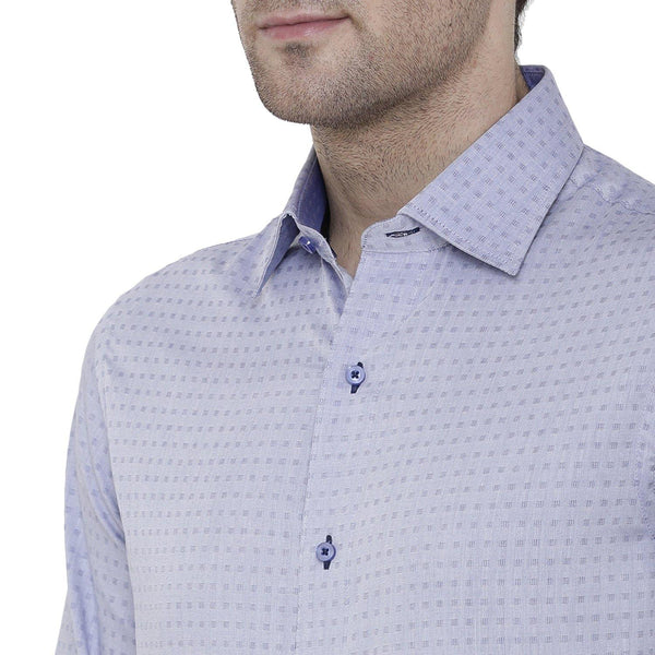 Formal Light Blue Checked Shirt