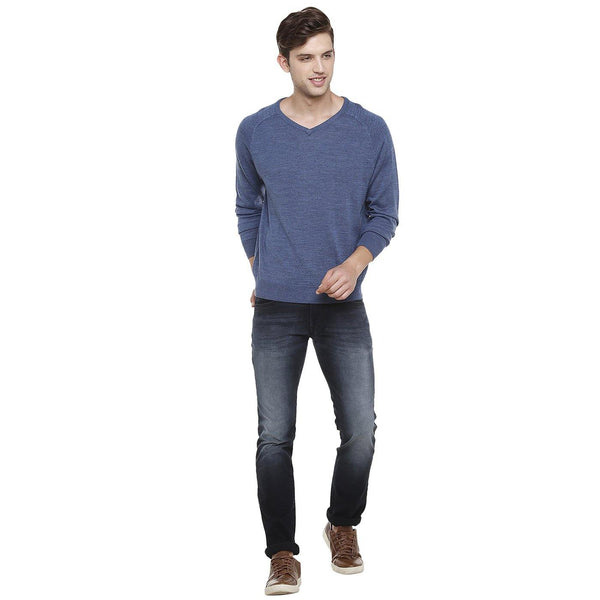 Double Two Wool Blend Blue Sweater