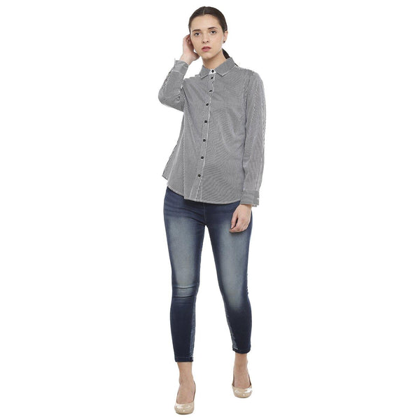 Double TWO Black Striped Classic Fit Women's Shirt
