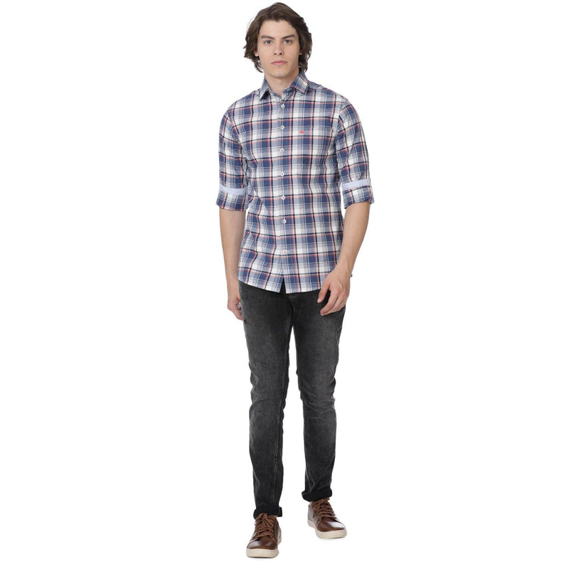 Casual Blue and Coral Wide Checked Shirt - Doubletwoindia