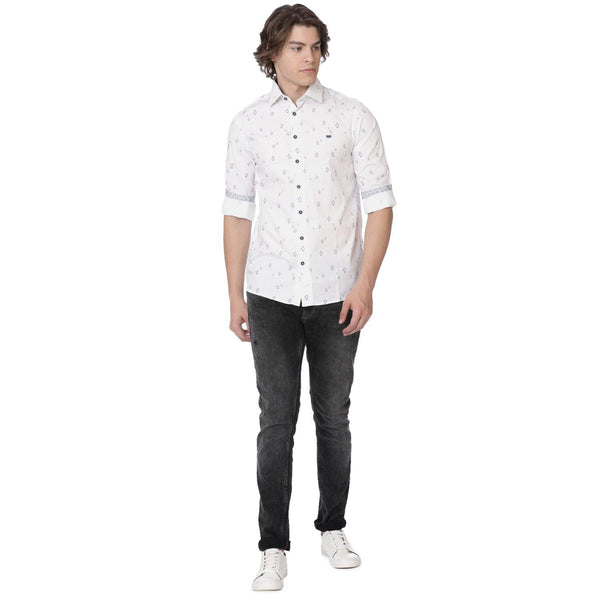 Casual White Penguin Printed Shirt