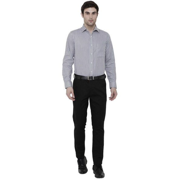 Luxury Pure Cotton Non-Iron Formal Charcoal Grey Striped Shirt