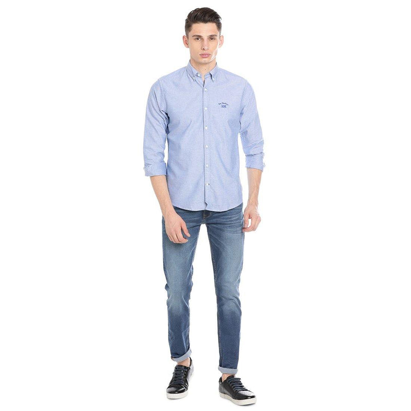 Casual Sky Blue Plain Shirt - Doubletwoindia