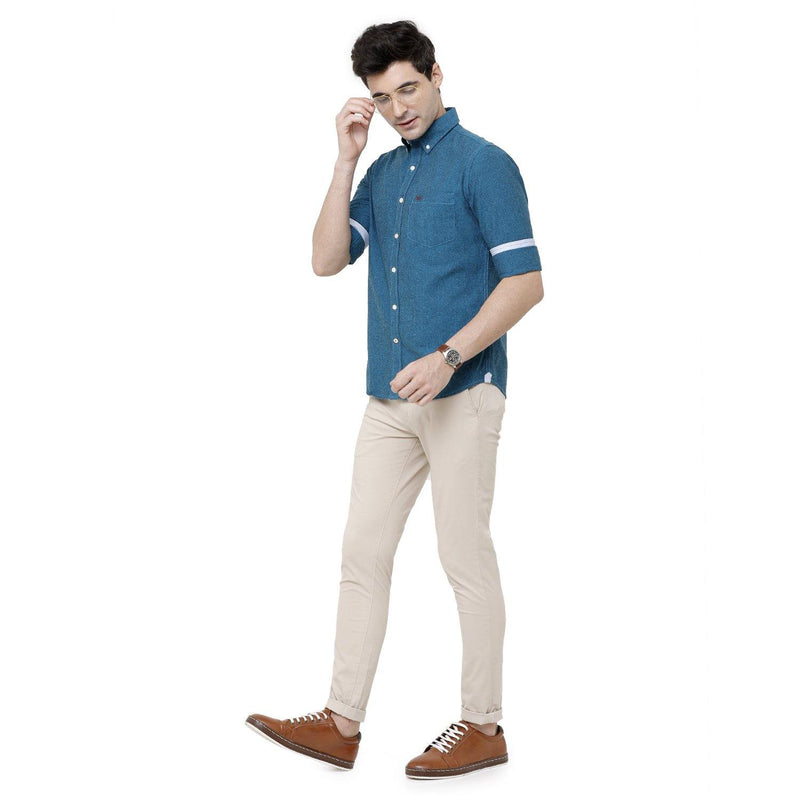 Casual Blue Plain Shirt - Doubletwoindia