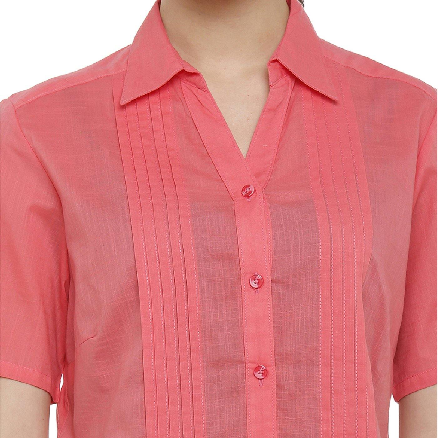Double TWO Women's Cotton Pleated Pink Shirt