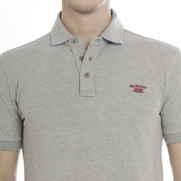 Polo Neck Grey Melange T-Shirt