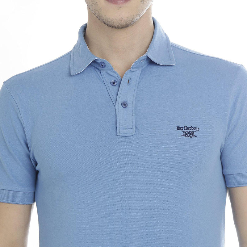 Double Two Polo Neck Sky Blue T-Shirt - Doubletwoindia