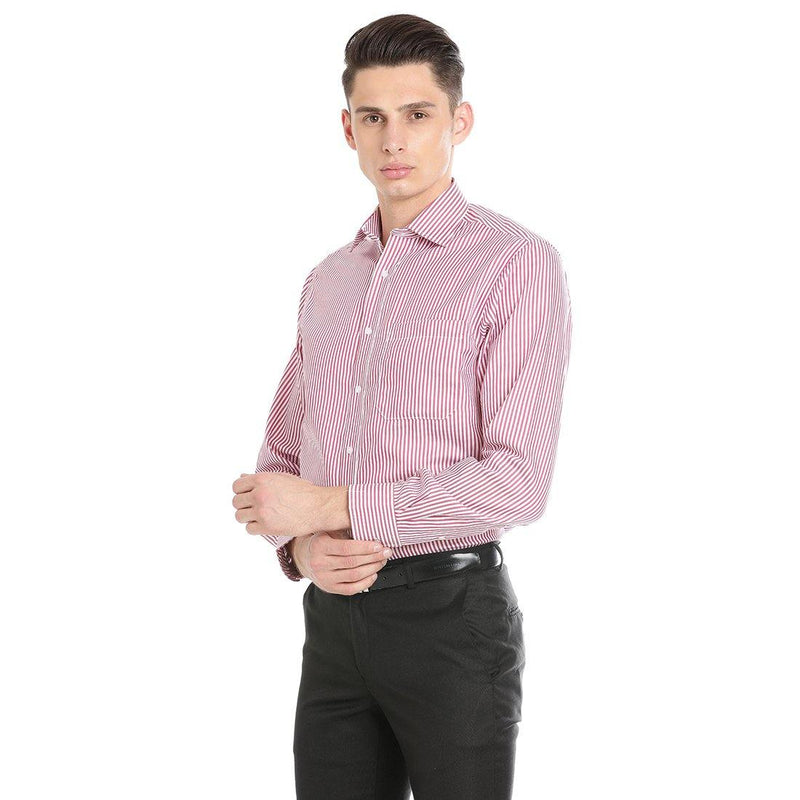 Luxury Pure Cotton Non-Iron Formal Pink Striped Shirt - Doubletwoindia