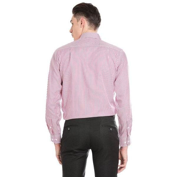 Luxury Pure Cotton Non-Iron Formal Pink Striped Shirt
