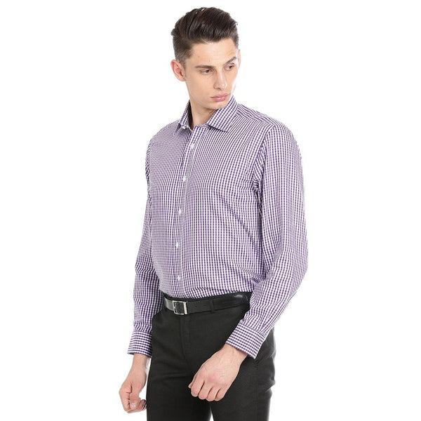 Luxury Pure Cotton Non-Iron Formal Purple Checked Shirt