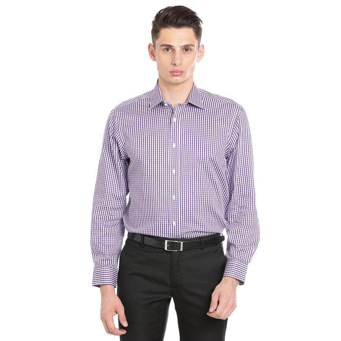 Luxury Pure Cotton Non-Iron Formal Purple Checked Shirt - Doubletwoindia