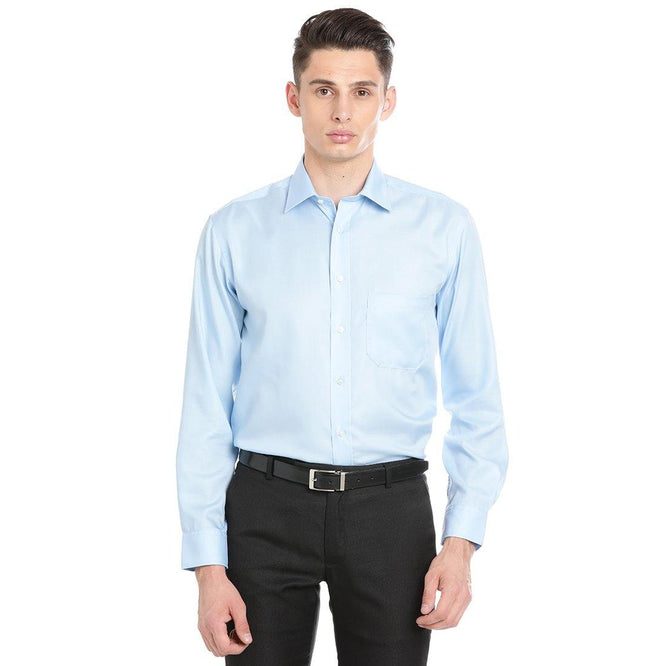 Luxury Pure Cotton Non-Iron Formal Sky Blue Plain Shirt - Doubletwoindia