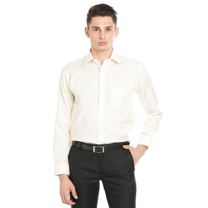 Luxury Pure Cotton Non-Iron Formal Cream Plain Shirt - Doubletwoindia