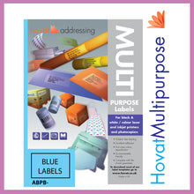 Load image into Gallery viewer, Hovat Multi-Purpose. Matt Blue Self adhesive label.  (100 sheet box)